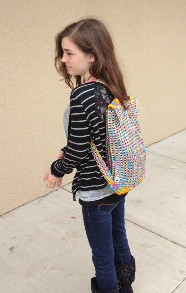 Samantha Hardy shows off her soda tap backpack