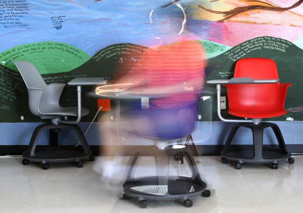 Node chairs, each comes equipped with a backpack and an iPad holder, swiveling seat, moveable tray and wheels. They have been installed in four classrooms at Westlake High School in Austin, Texas.