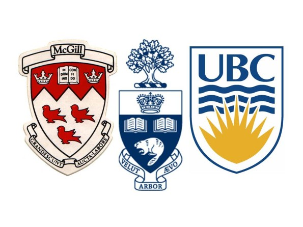 The logos of McGill University, University of Toronto, and the University of British Columbia.