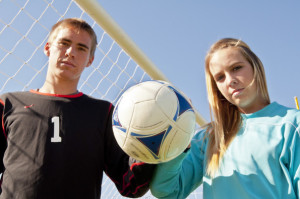Gregori High School seniors Robbie Harmelink and Taylor O'Brien re goalies for their respective teams -- and they're a couple.
