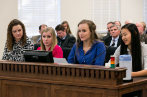 Katherine Robinson, Logan Brown, Carie Graves and Jackie Bollinger, all seniors at Wenatchee High School in Washington, present at a public hearing at the State Capitol in Olympia on Jan. 30.