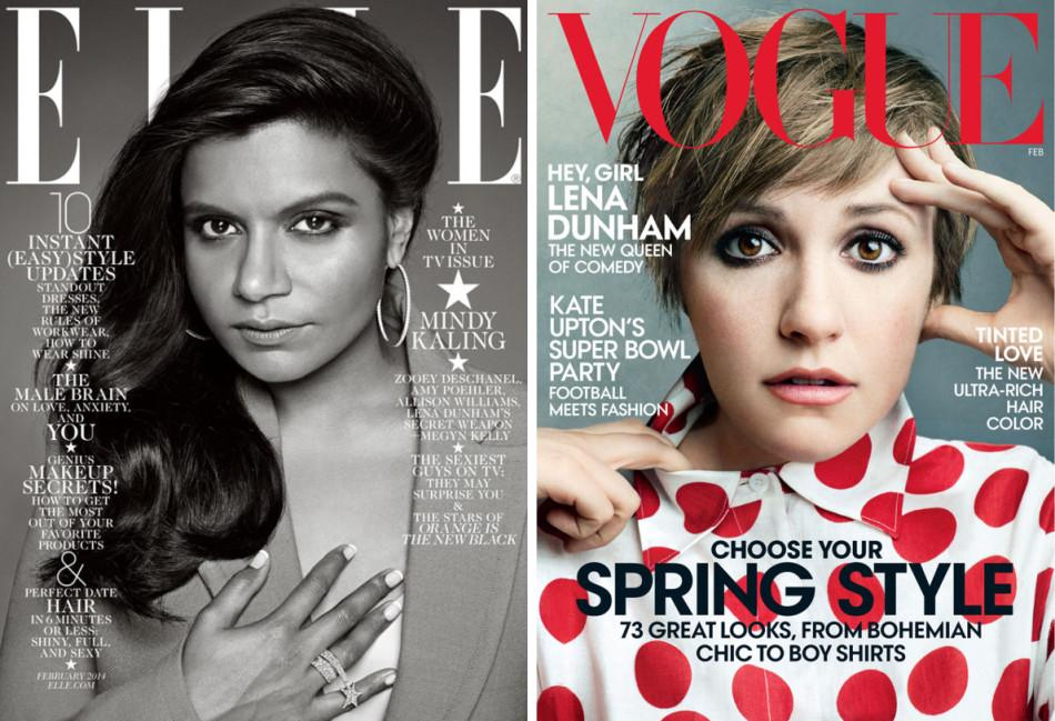 Mindy Kaling on Elle and Lena Dunham on Vogue.