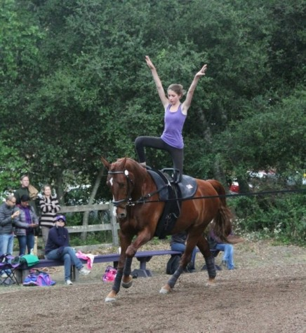 Irene Ezran, a senior, performs one of her moves on the horse during a competition. A freestyle routine consists of a series of 10 moves in one minute.