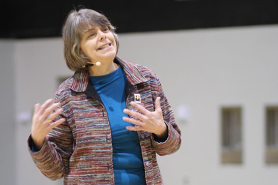 Mary Beth Tinker addresses students during her Tinker Tour stop in Amarillo, Texas, on April 9.