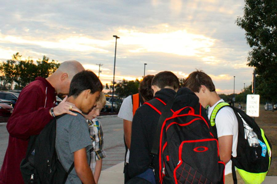 More than 100 students and others at Heritage Middle School in San Antonio gathered at the school's flag pole on Sept. 24 as part of the national