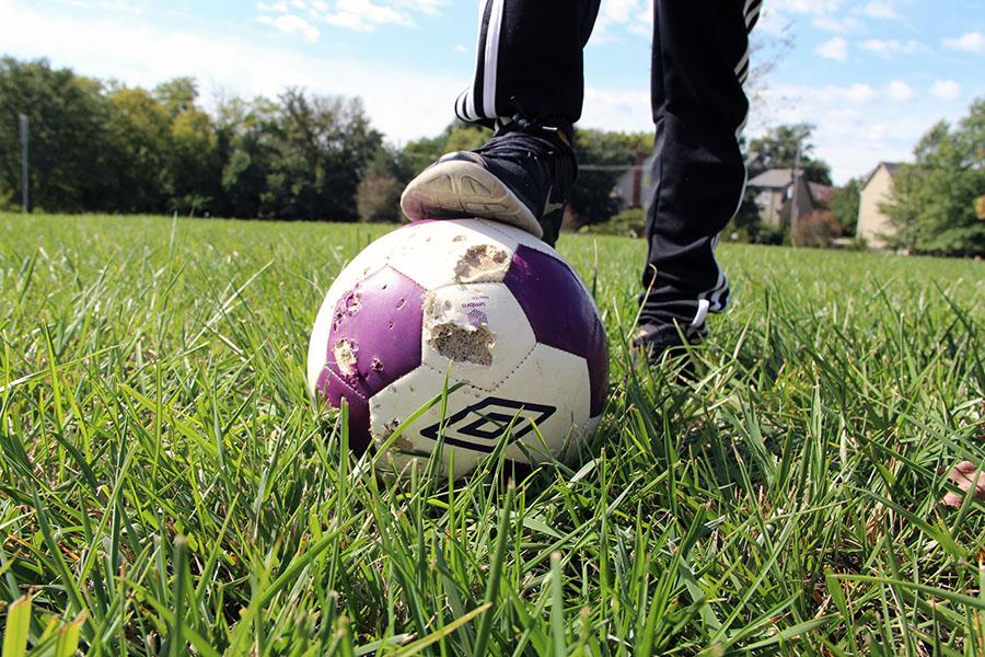 Head soccer coach Rick Pribyl said he believes this soccer ball was chewed up by a fox.