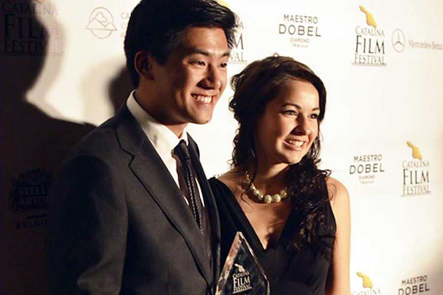Ryan+Huang+and+Maureen+Gleason+pose+on+the+red+carpet+at+the+Catalina+Film+Festival+with+their+award+for+Best+Student+Film.