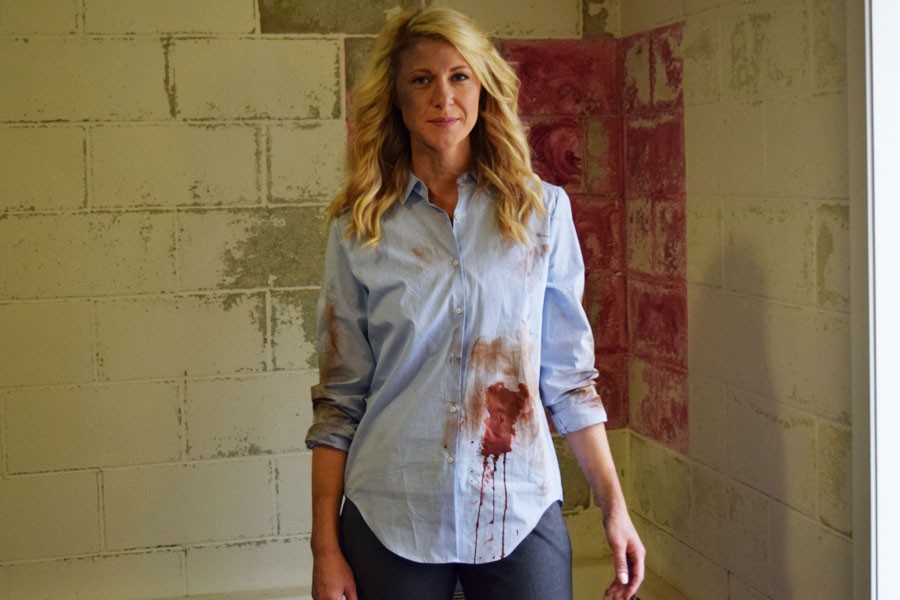 Actress+Amber+Rhodes+poses+on+the+set+of+Zombies+being+filmed+in+and+around+Owatonna.