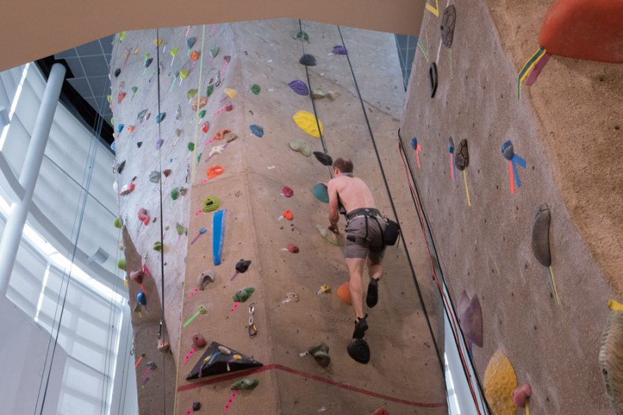 The+Morris+Recreation+Center+climbing+wall+stands+40+feet+or+roughly+12+meters+tall.