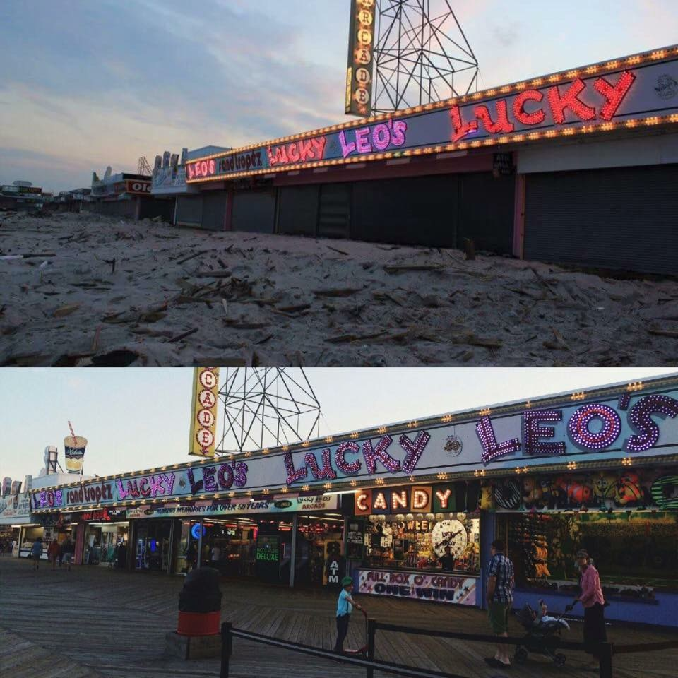 Seaside Boardwalk right after Sandy then 4 years later