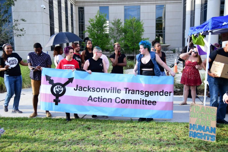 The+Jacksonville+Transgender+Action+Committee+helped+to+host+the+rally+outside+of+the+Duval+County+Courthouse.
