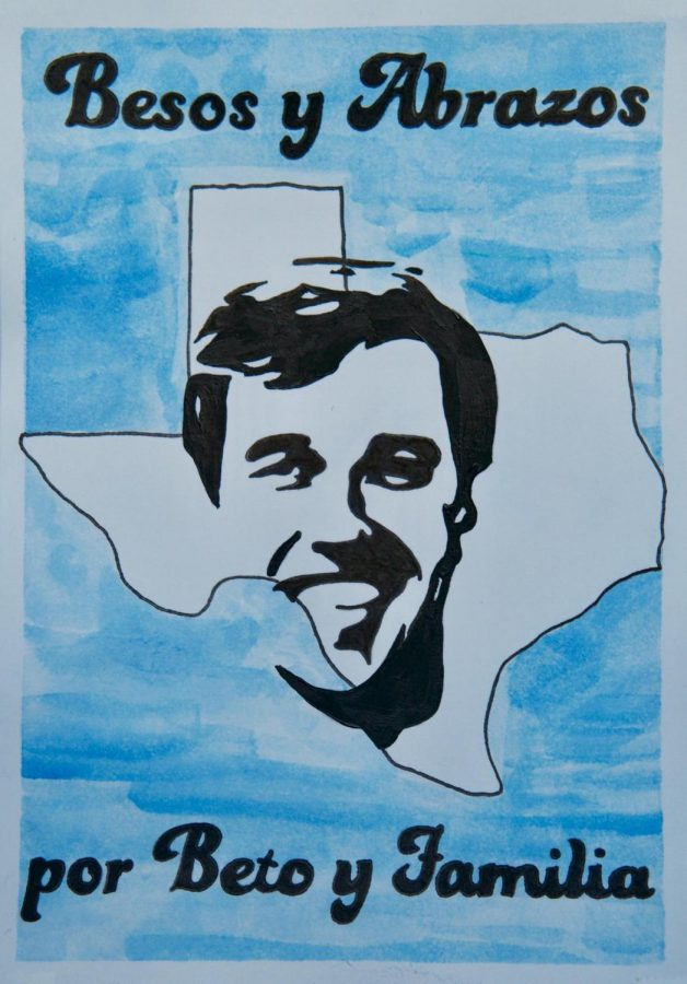 Emily+Lawson%27s+art%2C+created+for+Beto+O%E2%80%99Rourke%2C+the+democratic+candidate++running+for+Texas+Senate.