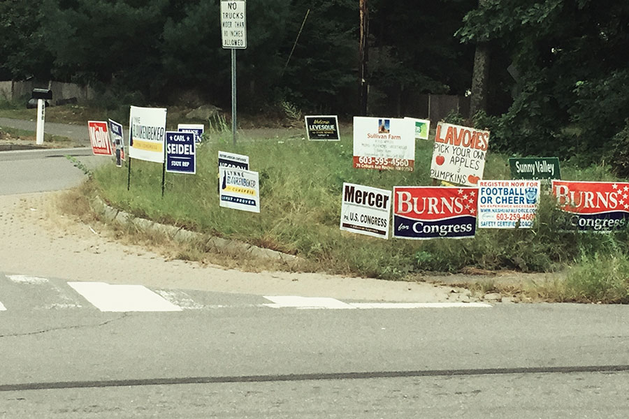 As elections draw near, political signs can be found in abundance on local roadsides. For many voters, this is the closest they will get to name recognition. Only about 20% of people will vote in off year elections.
