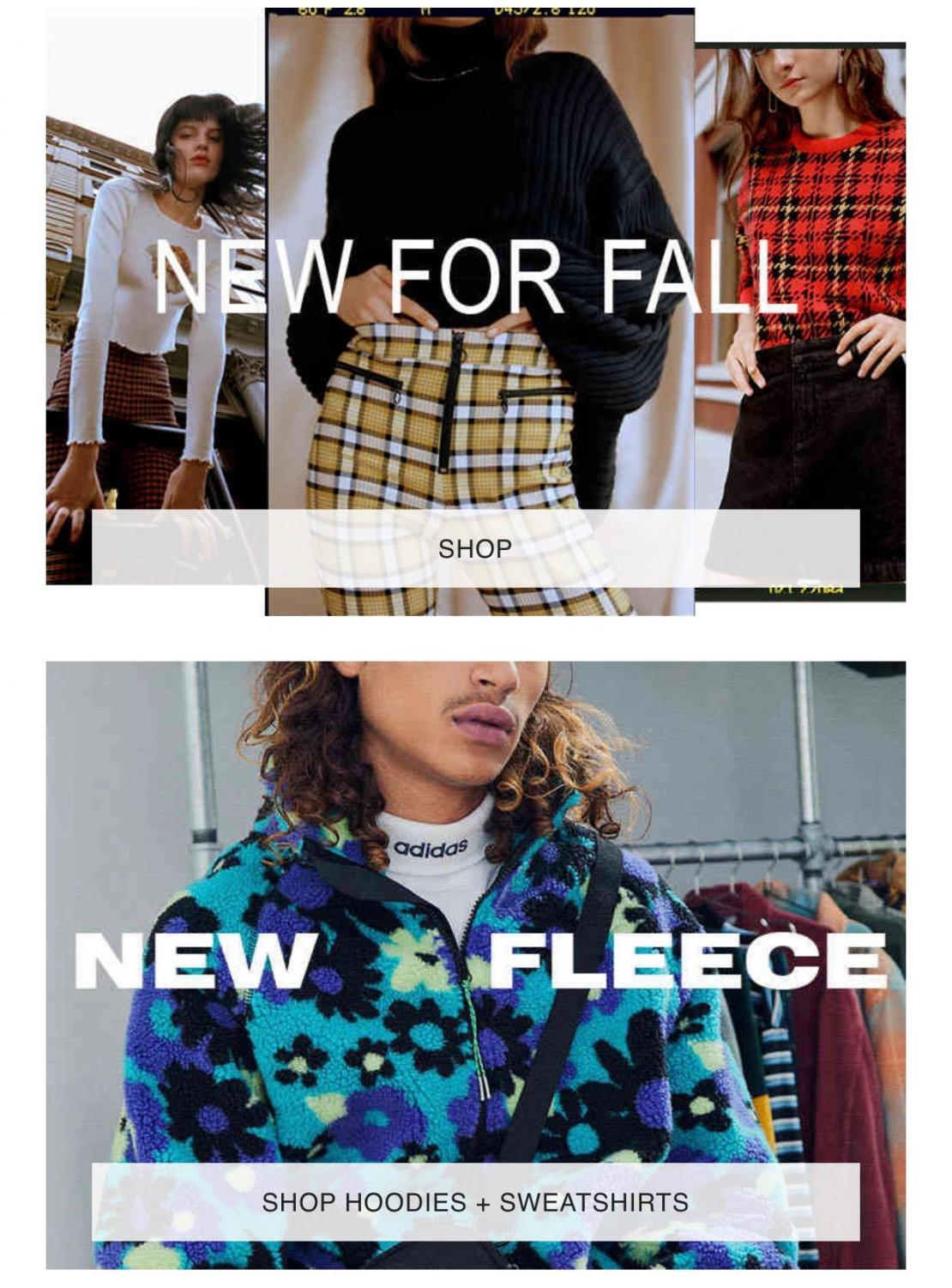 An image taken of the home page of the popular clothing store, Urban Outfitters. The clothing displayed is very reminiscent of some 80s and 90s styles.