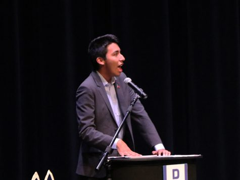 Senior Mark Rodriguez (Beto O'Rourke) makes a point during the Rock the Vote mock debate.
