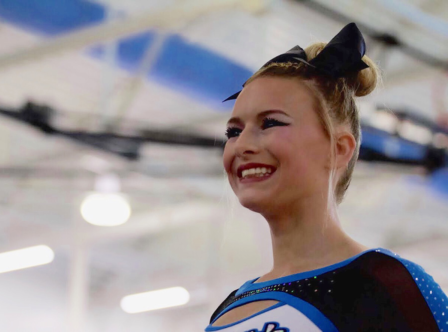 Sophomore MacKenzie Slagel at one of the cheer competitions this year. This is Slagel's second year with the Starr's Mill varsity team and fourth year with the Stingray Allstars in Marietta.