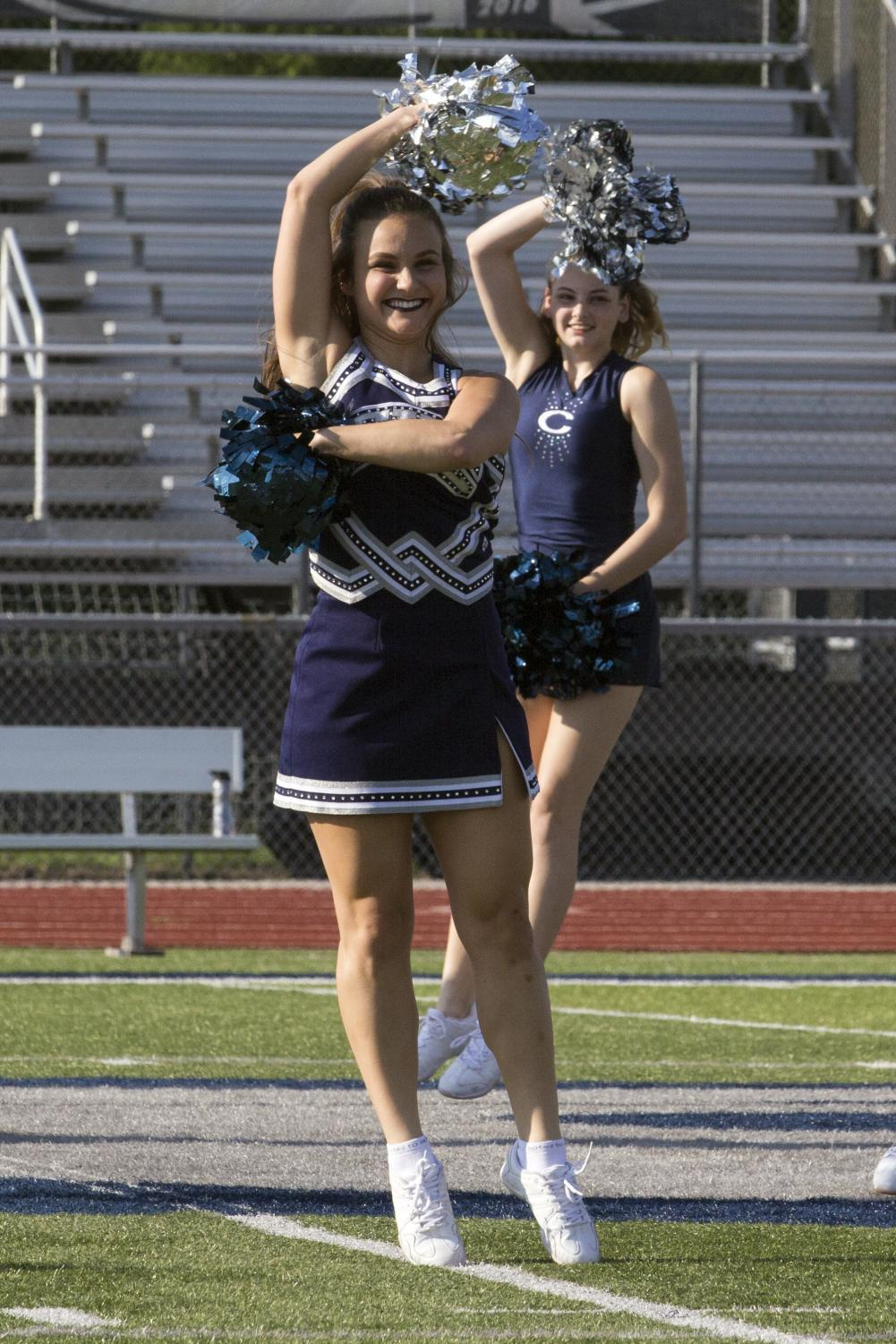 Callie Bratsch worked hard perfecting a dance routine. Bratsch spends long hours at hard practices to nail each routine.