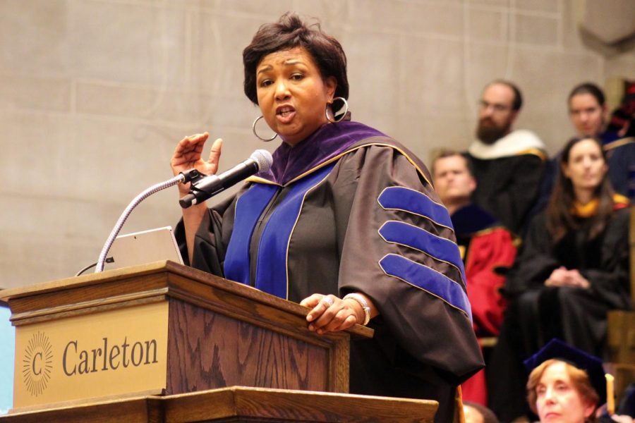 Mae+Jemison%2C+the+first+woman+of+color+to+travel+to+space%2C+speaks+at+a+convocation+at+Carleton+College+Oct.+26