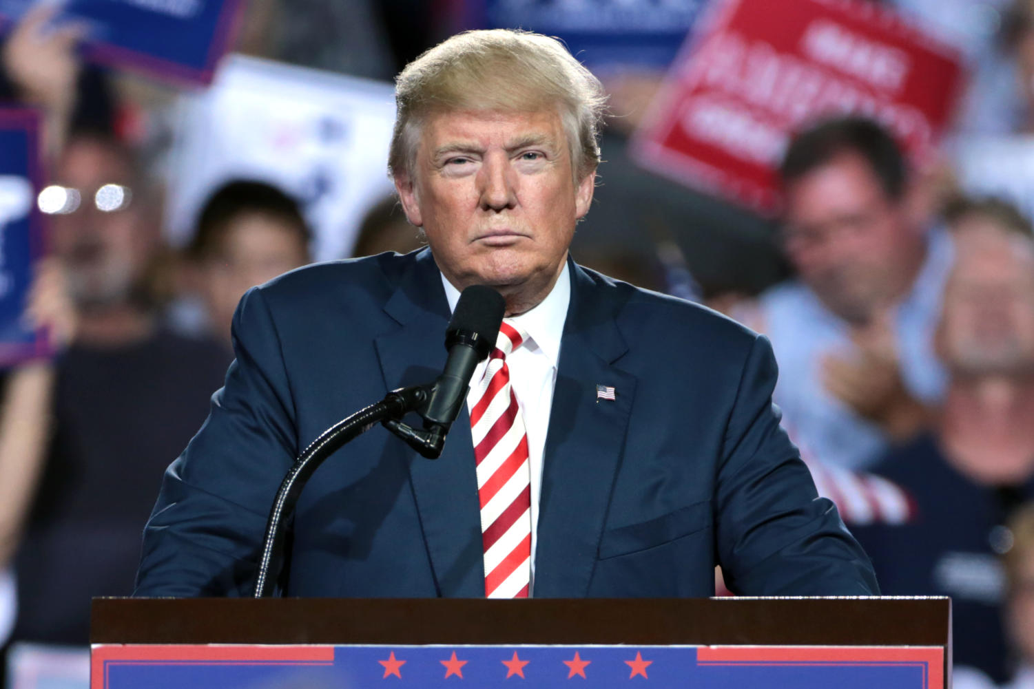 President Donald Trump gives a speech at a rally.