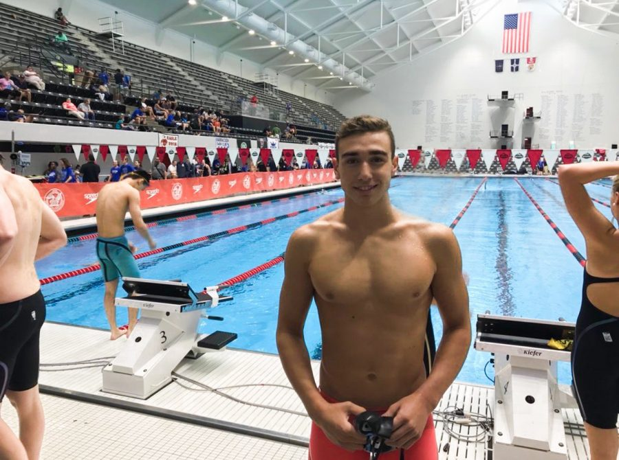 Freshman+Kledi+Kadiu+trains+in+the+pool+for+the+Phillips+66+National+Championship.+Kadiu+moved+from+Albania+in+pursuit+of+higher+competition.+%22It%E2%80%99s+been+good+to+train+here+since+America+has+way+better+resources+and+more+ways+to+make+swimming+fun+again%2C%22+Kadiu+said.+%22It+helps+me+remember+why+I+fell+in+love+with+the+sport+in+the+first+place.%22