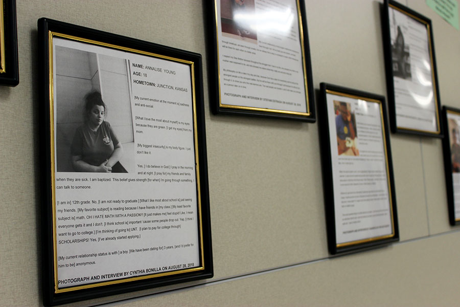 The first floor E wing showcases students' projects made in English teacher Madelyn Johnson's classroom.