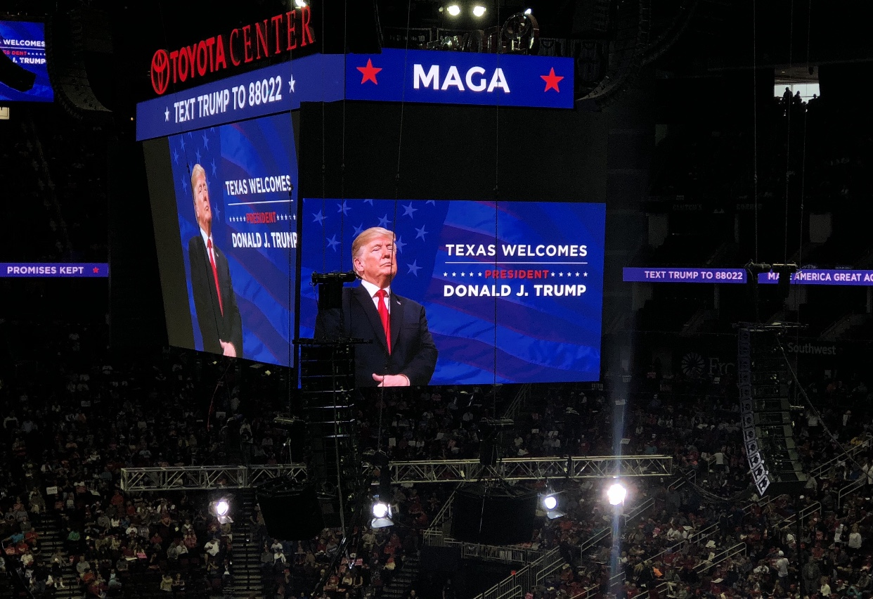 Trump supporters could watch his speech from any seat in the Toyota Center as his image was projected to the big screen.