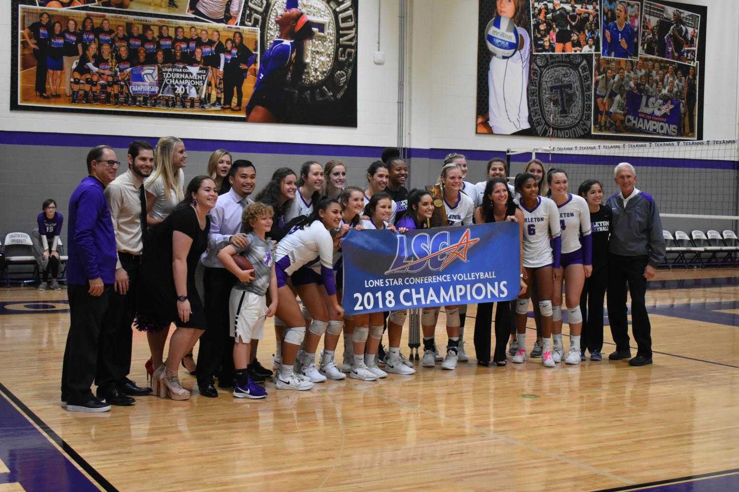 The Tarleton TexAnn's pose with their 2018 LSC banner after the Senior game against Cameron University on Oct. 26 in Wisdom Gym.