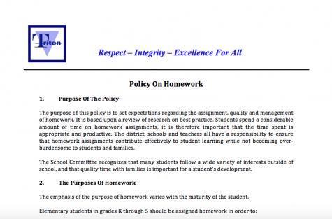 New Homework Policy for Triton High School