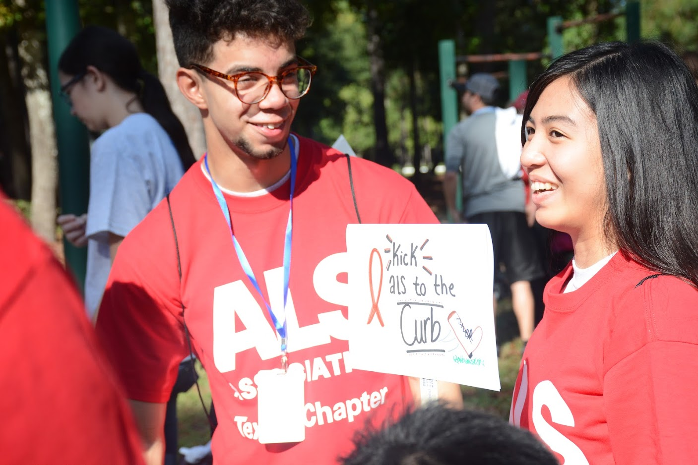 Students volunteer at the ALS walk in the Woodlands Saturday morning as part of Klein Serves.