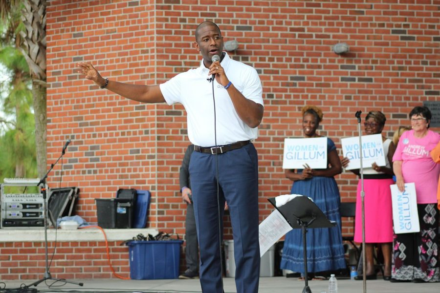 Speaking+at+the+Women+for+Gillum+rally%2C+gubernatorial+candidate+Andrew+Gillum+campaigns+for+office+at+Waterworks+Park+Oct.+19.+During+the+rally%2C+he+spoke+about+gun+control%2C+healthcare%2C+criminal+justice+reformation+and+climate+change.