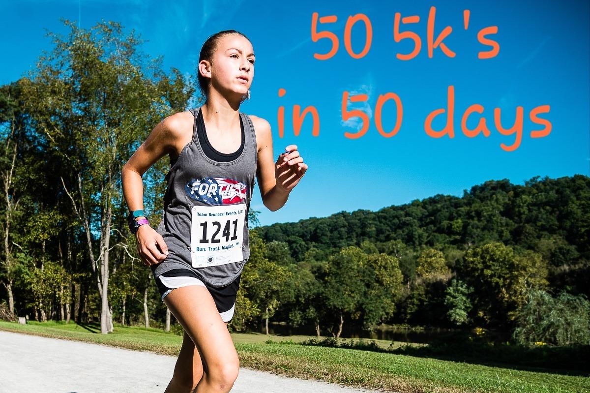 Kenzie Hirt runs 50 5k's for charity.