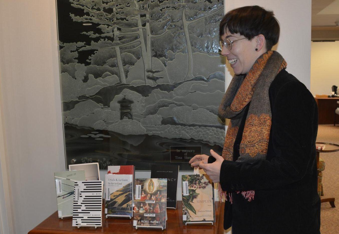 US librarian Kate Brooks sorts through books.