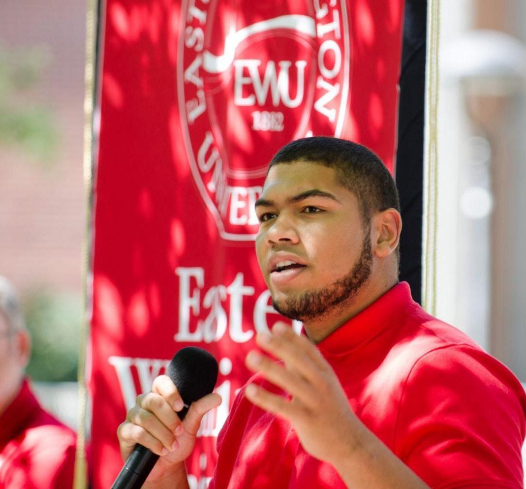 EWU senior and ASEWU President Dante Tyler speaks at an ASEWU event.