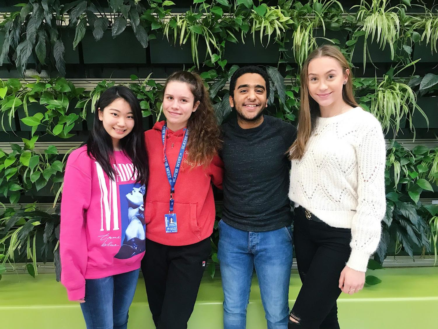 Foreign exchange students from Olathe West stand together for photo. Karen Fukami (Far left) Monica Almagro, Maged Wadi, and Sarah Mari Nielsen (Far right.)