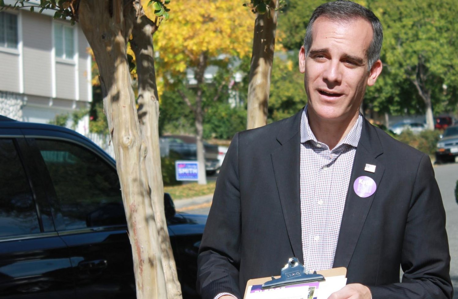INVOLVED:    Mayor Eric Garcetti, campaigning Sunday in Santa Clarita for a Democratic candidate for Congress, said the synagogue shooting in Pittsburgh should not make Jewish teenagers live in fear but rather build bridges with other groups.