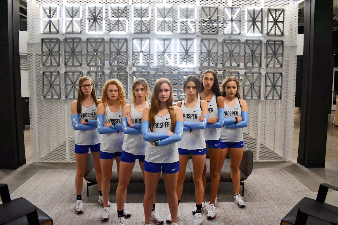"""Girls' cross country - Emily Kern, Aubrey O'Connell, Tatum Castillo, Madison Christy, Alexis Svoboda, Sadie Gonzales and Kirstin Towle - take a minute for a Nike Nationals picture. They placed 20th out of 22 teams. """"Going to Nike Nationals has been like a dream all of high school so to achieve this goal felt really good, but when you get there, you realize there are so many goals ahead,"""