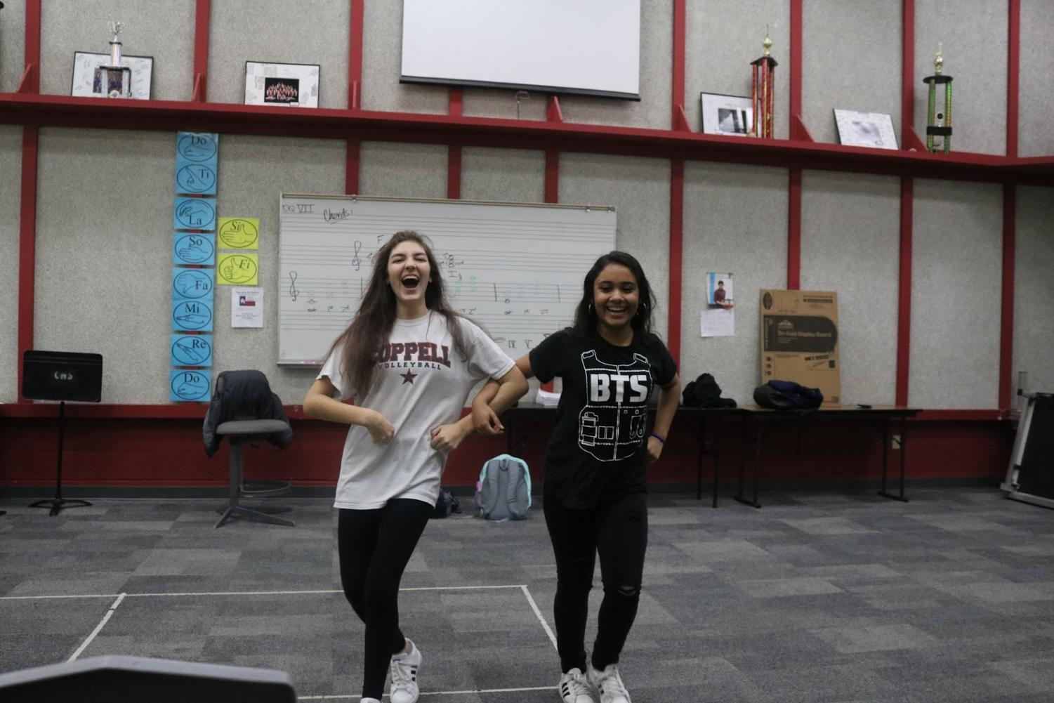 "Coppell High School sophomores Elisabeth Nail and Eliana Ochoa perform ""As If It's Your Last"" by Blackpink to start off Korean Culture Club's meeting with a bang. The club meets after school each Monday in F101."