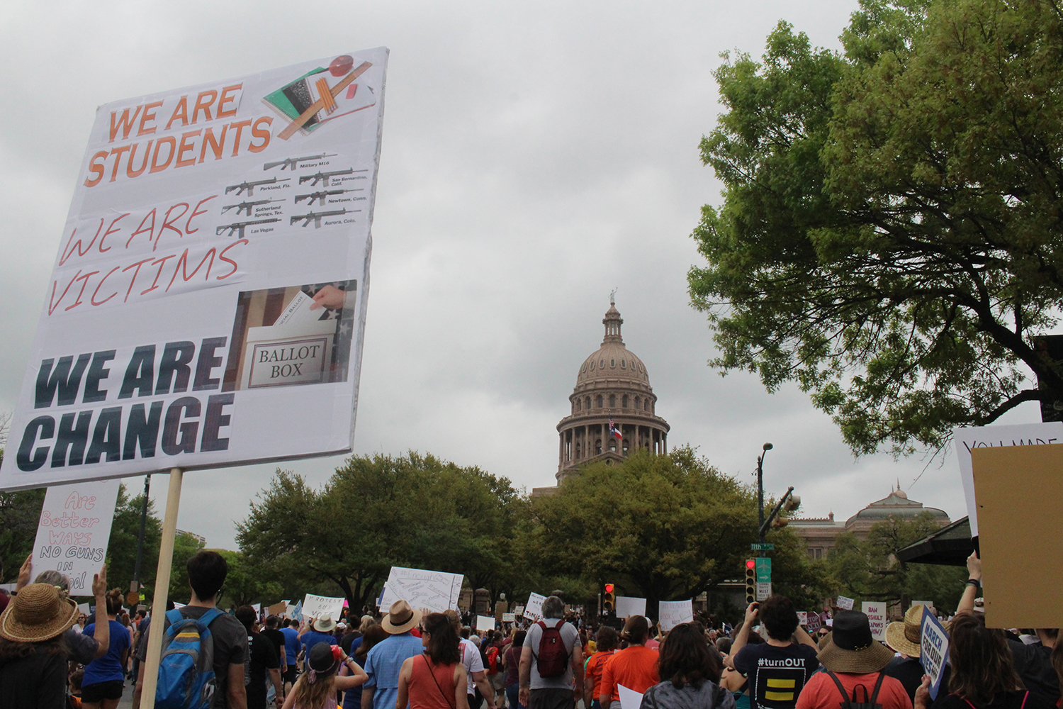 The March for Our Lives protest started at Austin City Hall and stretched down Congress Avenue, ending at the Texas Capitol. Protestors demanded that lawmakers take action to end gun violence in Texas and beyond.