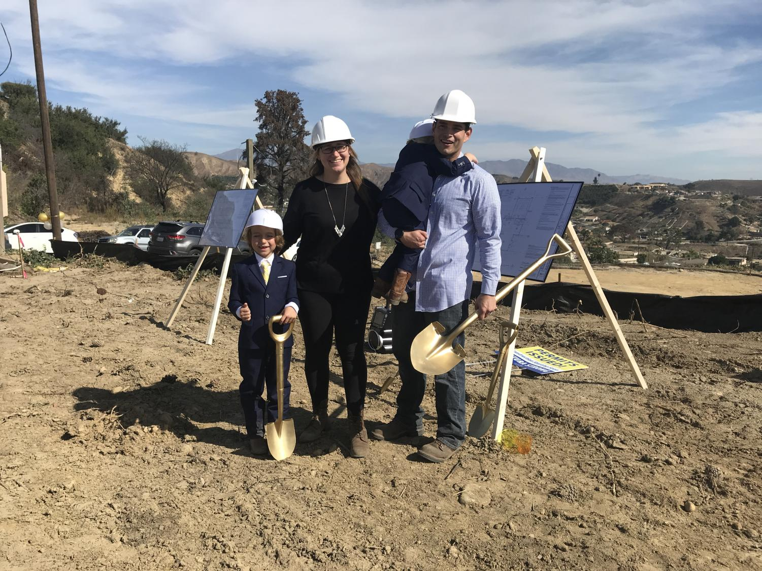 The Ehret family works to rebuild their home after the Thomas Fire