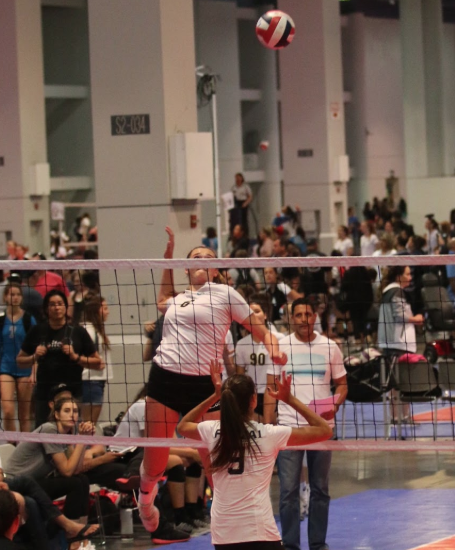Peyton Wilhite prepares to deliver a spike against an opposing team to score a point.