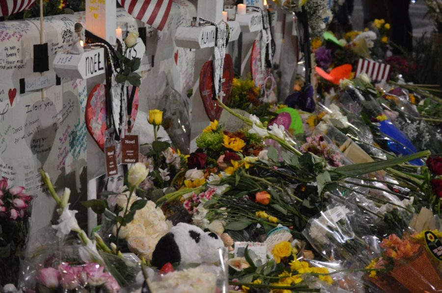 Members of the city of Thousand Oaks mourn the death of 12 residents with flowers and candles