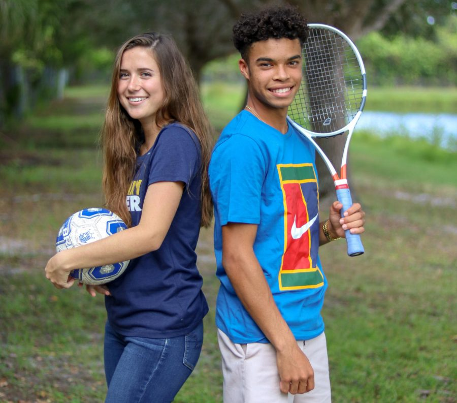 High+school+soccer+player+Jessica+Baez+and+club+tennis+player+Nick+Olomu.