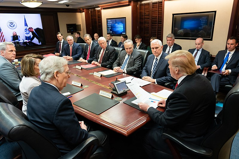 President Donald J. Trump, joined by Vice President Mike Pence, meets with Republican and Democratic legislative leadership members Wednesday, Jan. 2, 2019, in the Situation Room of the White House. (Official White House Photo by Shealah Craighead).