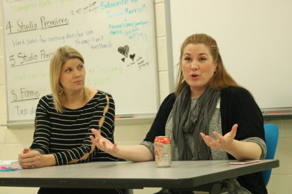 Coppell High School Theatre Director Karen Ruth and Coco Kleppinger discuss helpful tips when auditioning for a character with students on Jan. 10. Coco Kelppinger is currently a casting associate and has helped cast such feature films as IT, Burden, and Game Night. Photo by Bren Flechtner.
