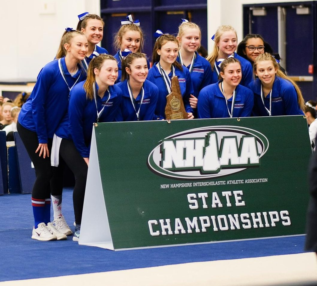 The gymnastics squad earns a first place victory at the NHIAA tournament.