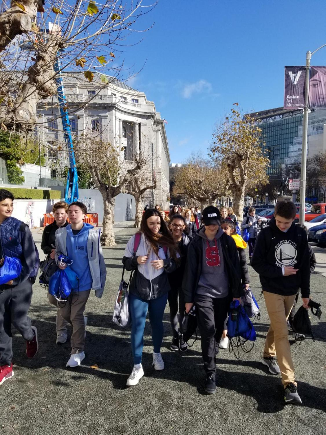 MV freshmen walking around in S.F. handing out bags to the homeless.