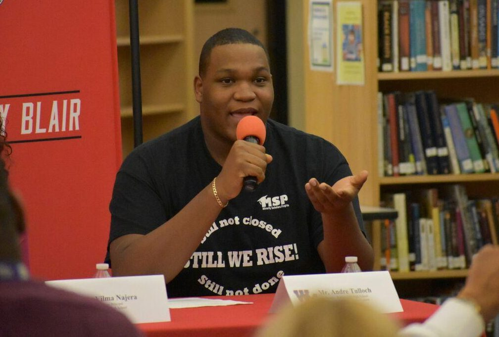 Senior Andre Tulloch speaks at a Minority Scholars event. He was just awarded the prestigious Posse Scholarship.