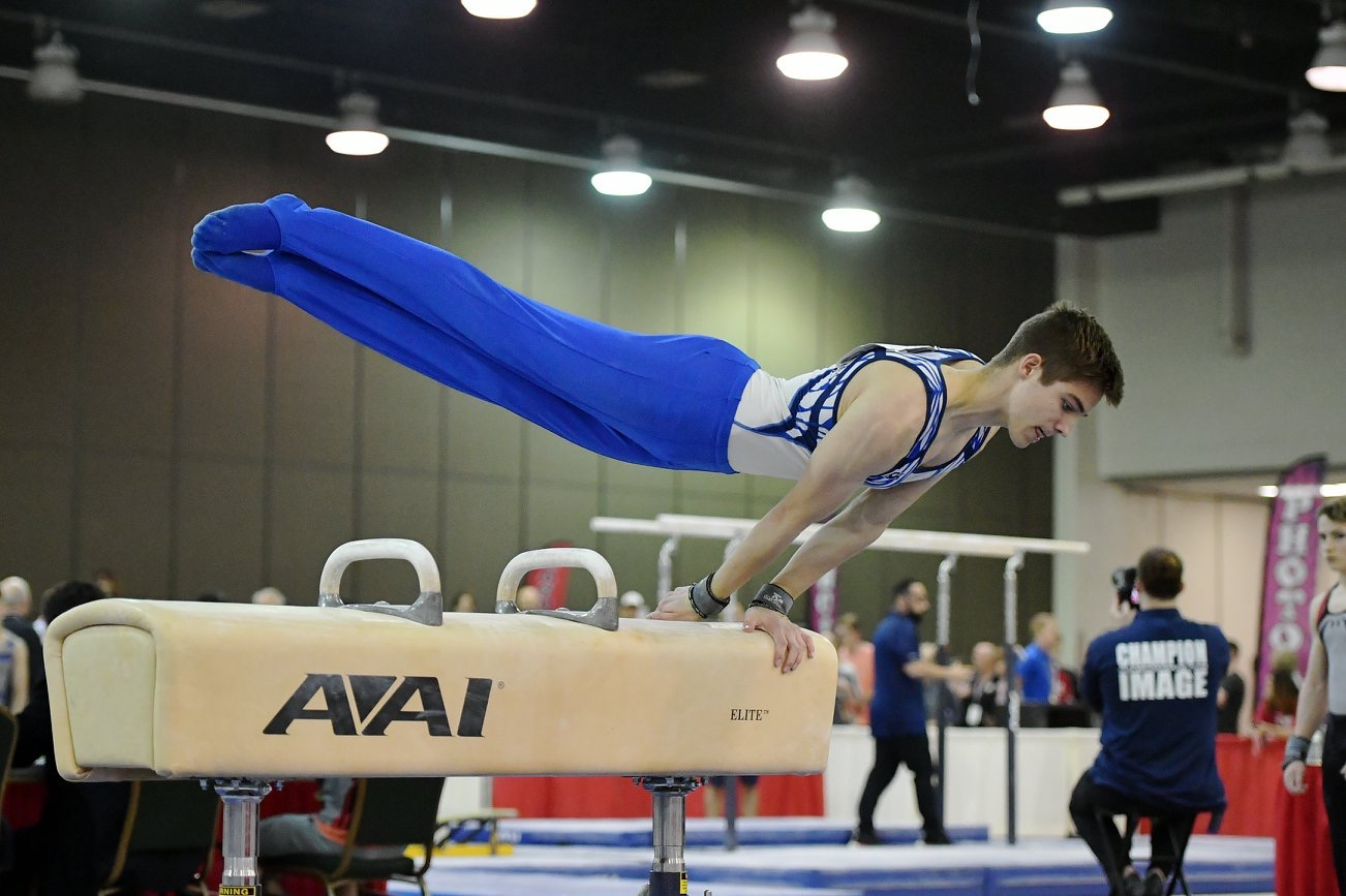 Cooper Giles, senior, performs his pommel horse routine at the national 2018 Men's Junior Olympics. Giles considers gymnastics the biggest and most worthwhile commitment in his life.