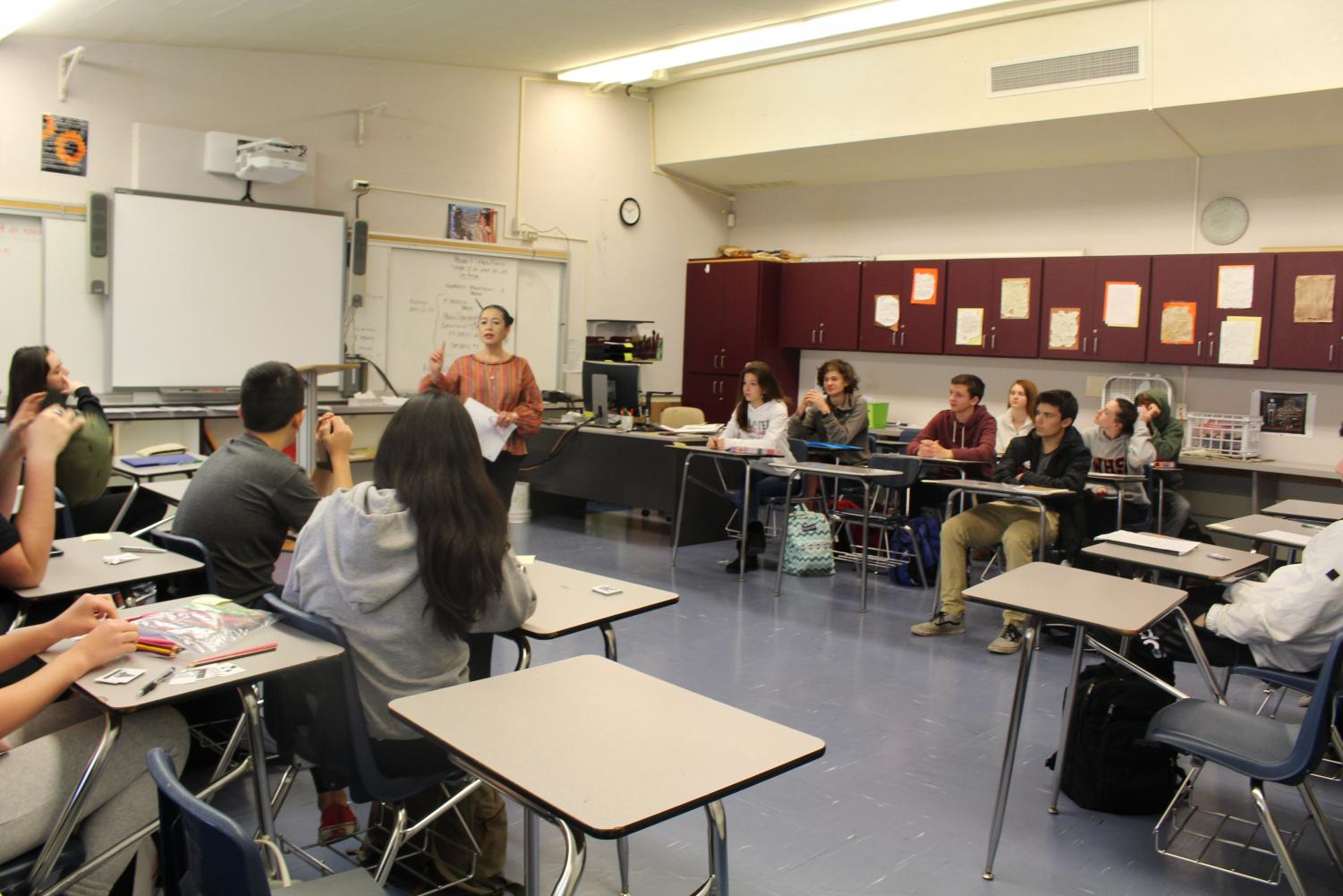 Thelma Mooney, a fill-in teacher for one of Bowles' classes, teaches a lesson.