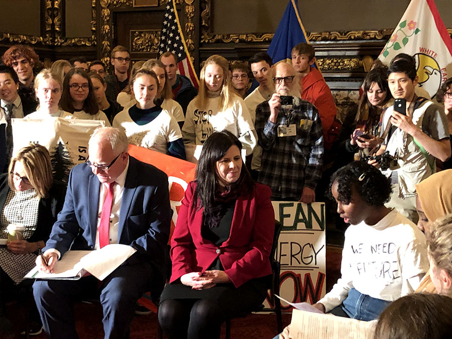 South sophomore Isra Hirsi making a plea to Minnesota's new Governor Tim Walz to take action on climate change. Hirsi is part of a youth-led group working for climate justice called